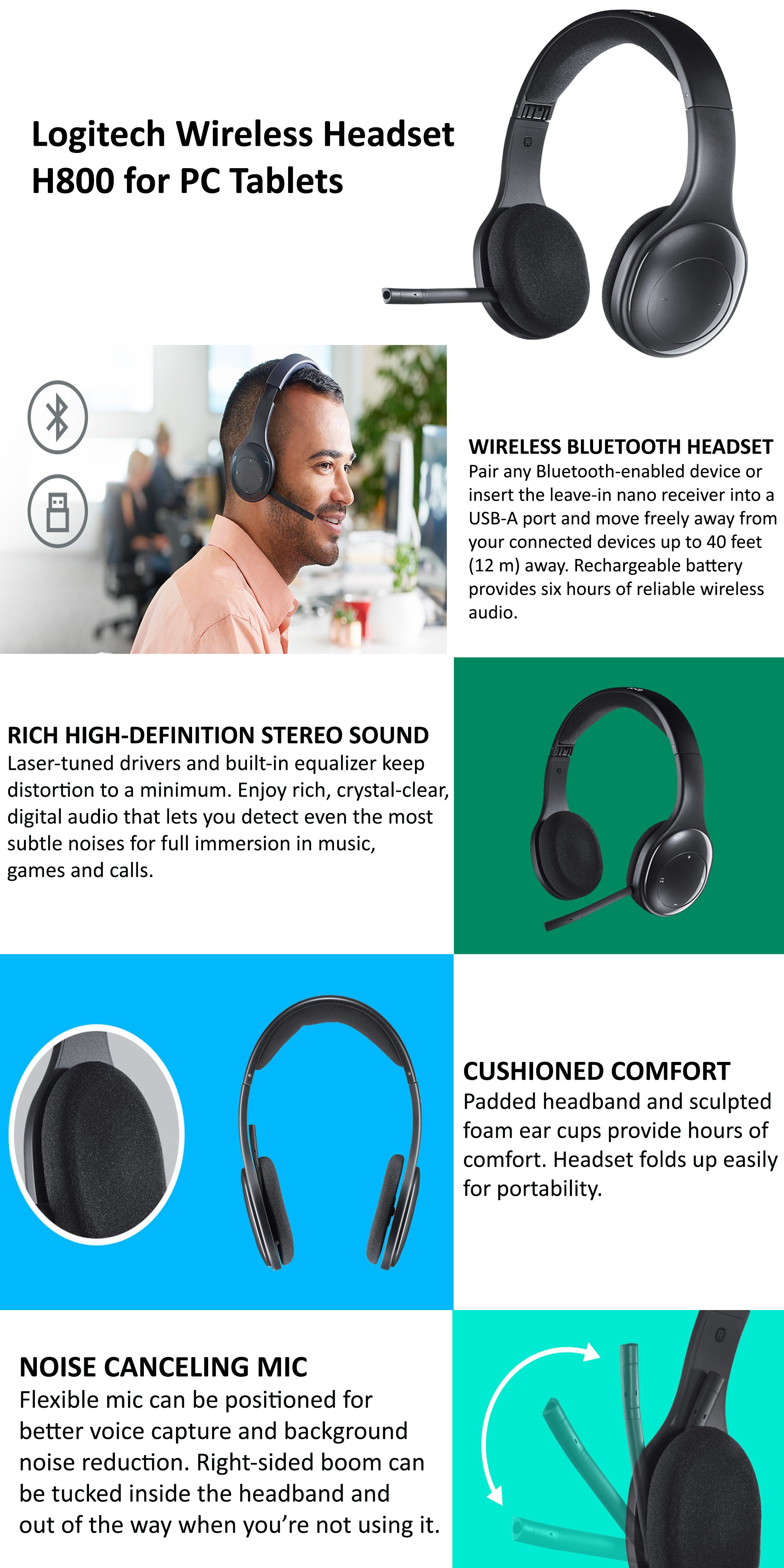 Shop Logitech H800 Wireless Bluetooth Headset With Noise Cancelling Mic Black Online In Riyadh Jeddah And All Ksa