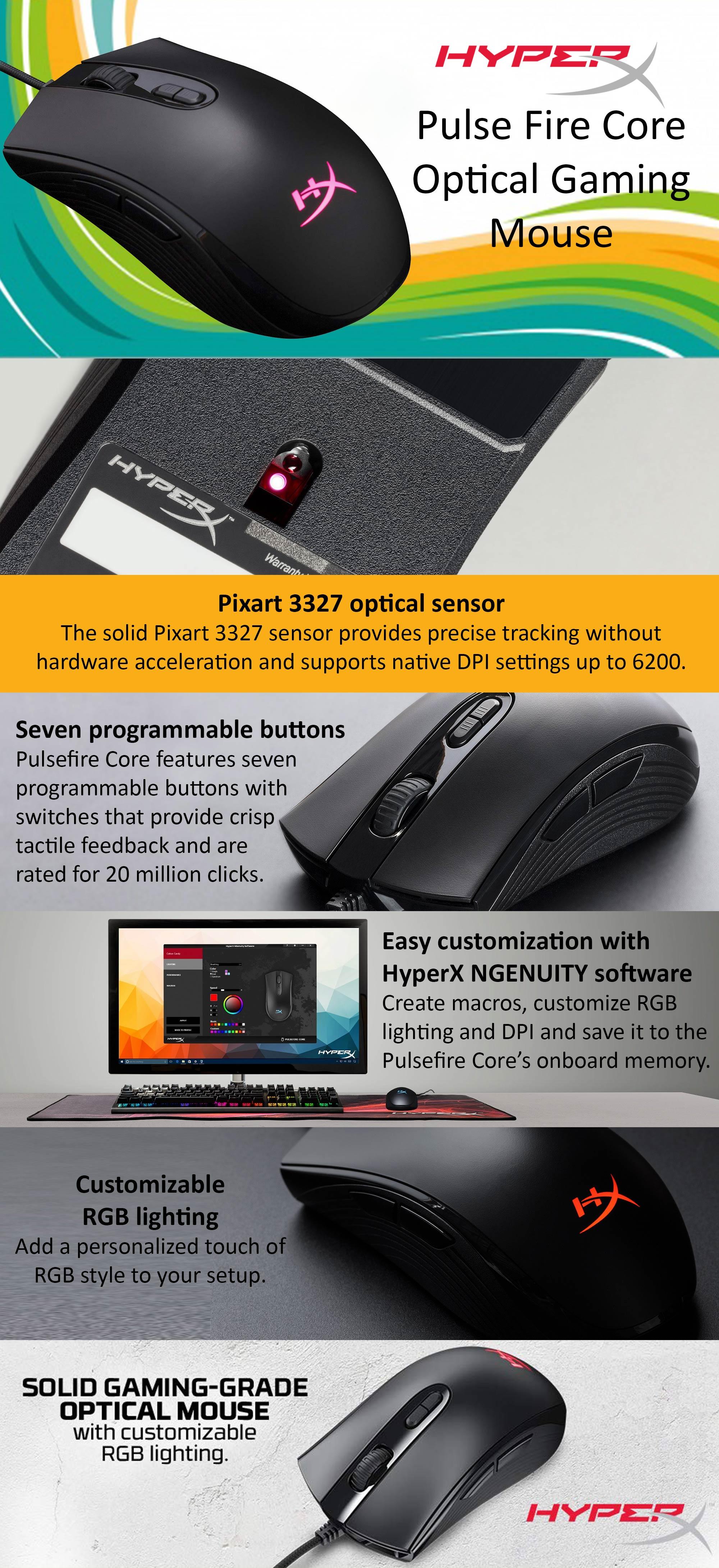 HyperX Pulsefire Core RGB Gaming Mouse - HX-MC004B 8