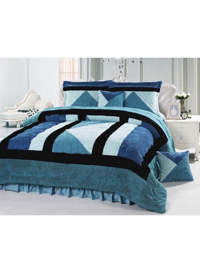 Shop Senoures 6 Piece Velour Comforter Set Velvet Green Blue White King Online In Dubai Abu Dhabi And All Uae