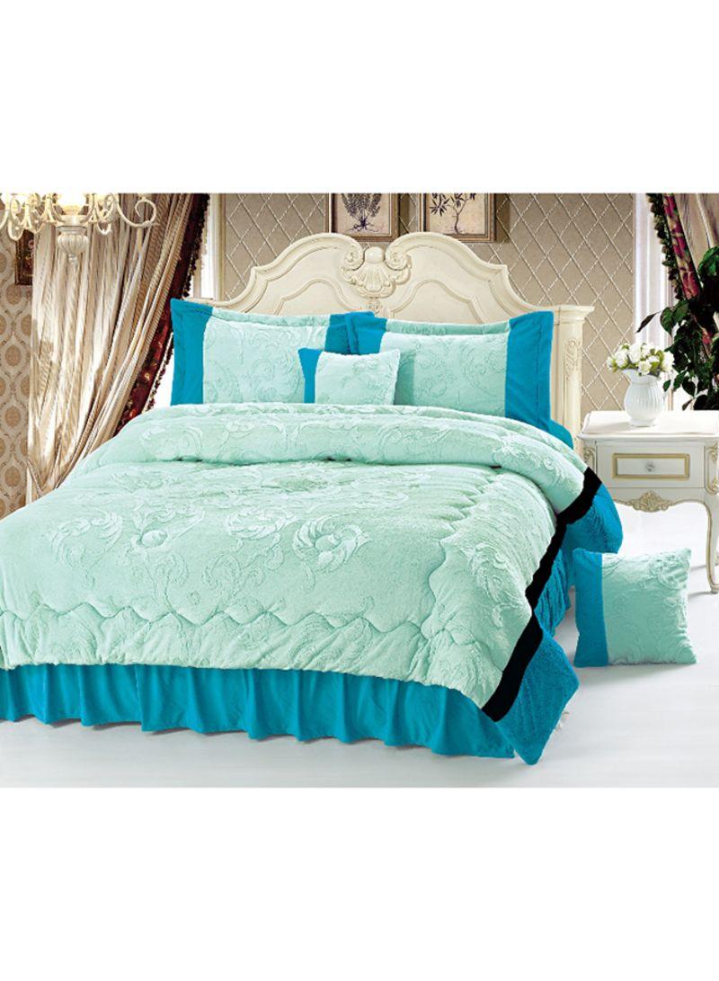Shop Senoures 6 Piece Velour Comforter Set Velvet Green Blue King Online In Dubai Abu Dhabi And All Uae