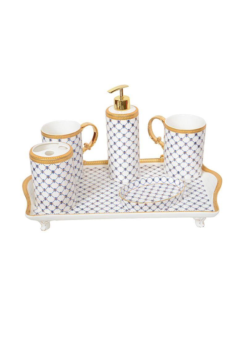 Shop 6 Piece Luxury Bathroom Accessories Set White Gold Blue 9centimeter Online In Riyadh Jeddah And All Ksa