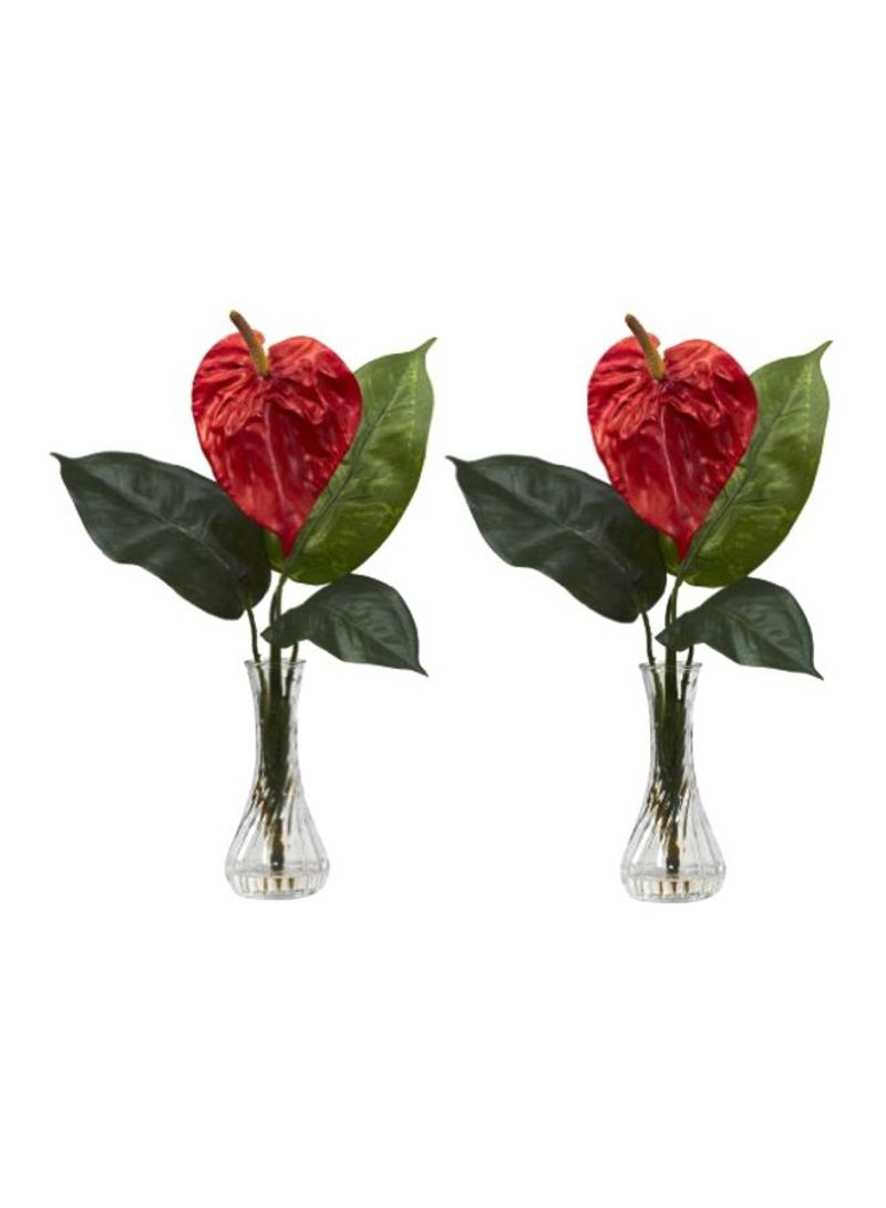 Shop Nearly Natural 2 Piece Anthurium With Bud Vase Silk Flower Set Red Green Online In Dubai Abu Dhabi And All Uae