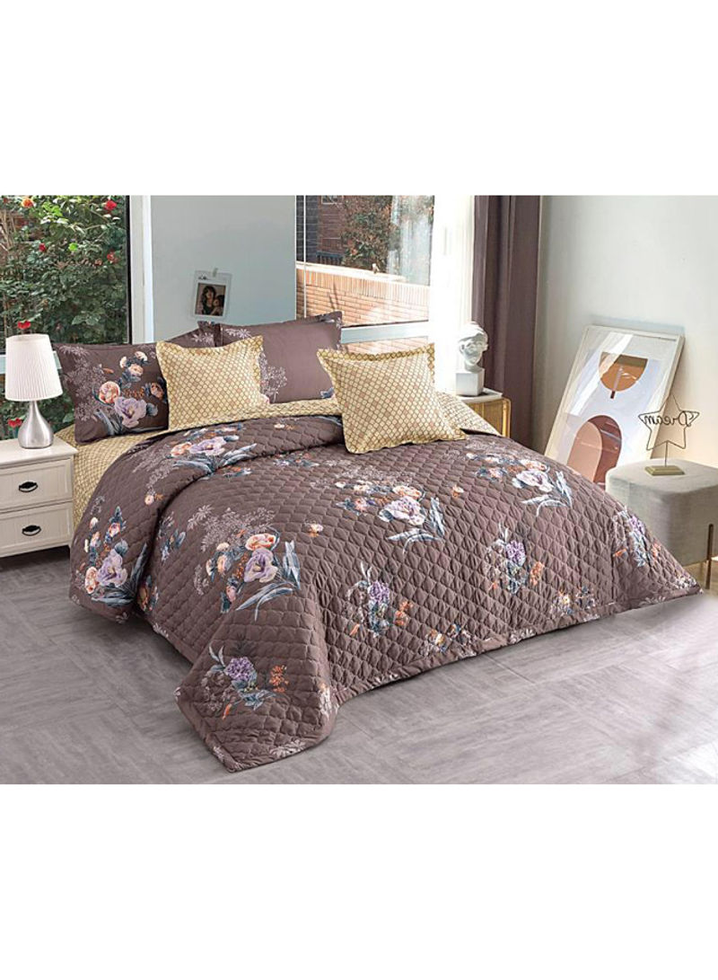 Shop Hours 6 Piece Floral Printed Comforter Set Fabric Brown Purple Orange King Online In Riyadh Jeddah And All Ksa