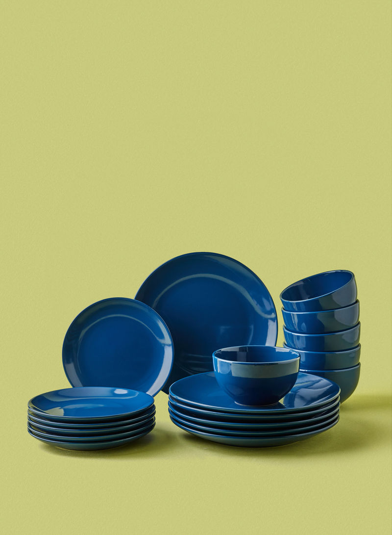 Buy Now Noon East Stoneware Plates Dishes Bowls Dark Blue 18 Piece Dinner Set With Fast Delivery And Easy Returns In Dubai Abu Dhabi And All Uae