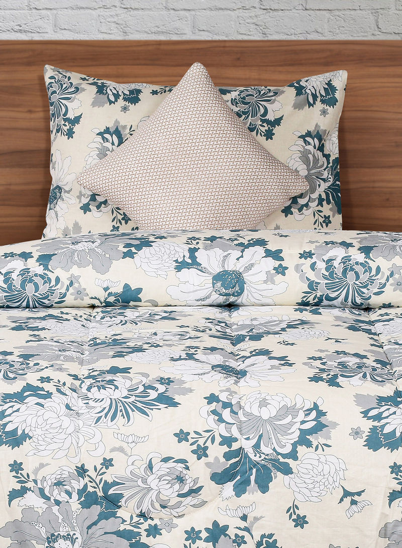 Shop Amal Comforter Pillow Cover And Cushion Cover Cotton White Blue Grey Twin Online In Dubai Abu Dhabi And All Uae