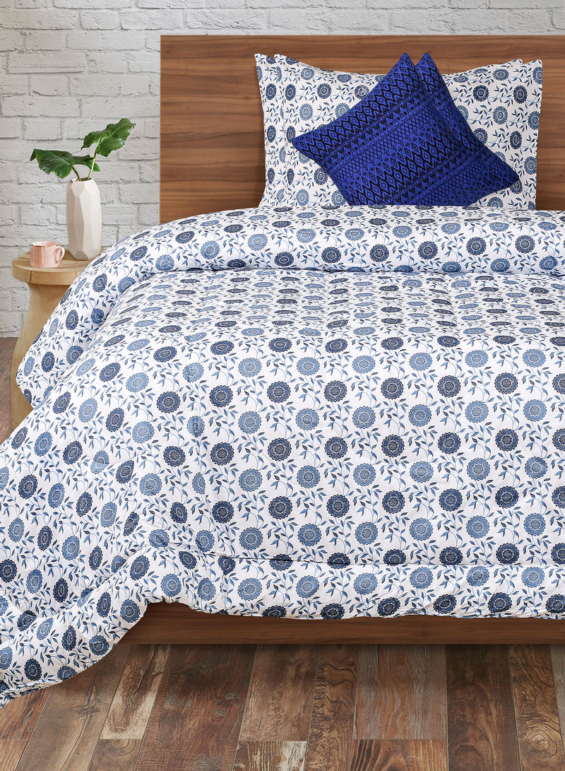 Buy Now Amal Comforter 2 Pillow Covers And 2 Cushion Covers Set Cotton Blue White Grey King With Fast Delivery And Easy Returns In Dubai Abu Dhabi And All Uae